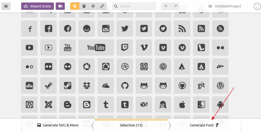 Процесс генерации собственного шрифта с иконками на icomoon
