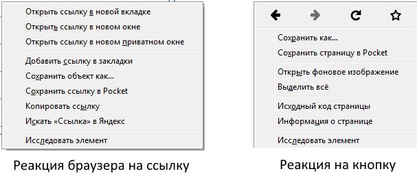 Правый клик мыши в браузере по ссылке и кнопке